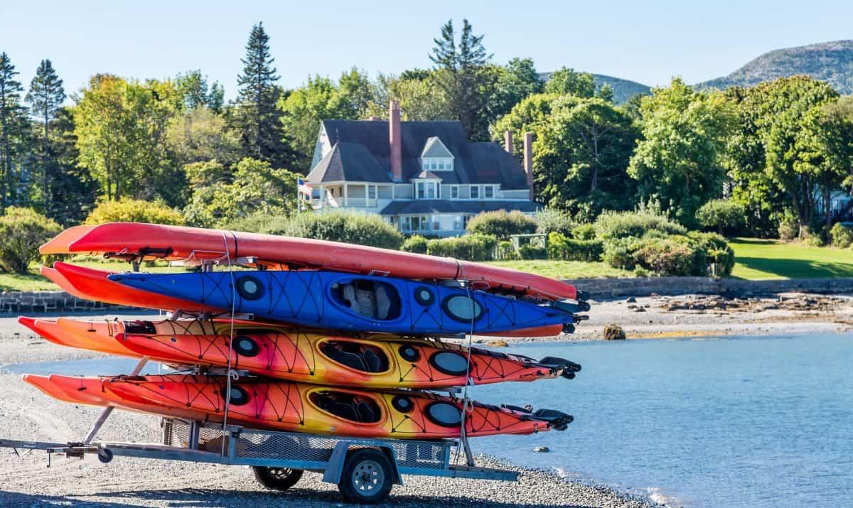 Colorful Kayaks on Kayak Trailer on Coast of Bar Harbor