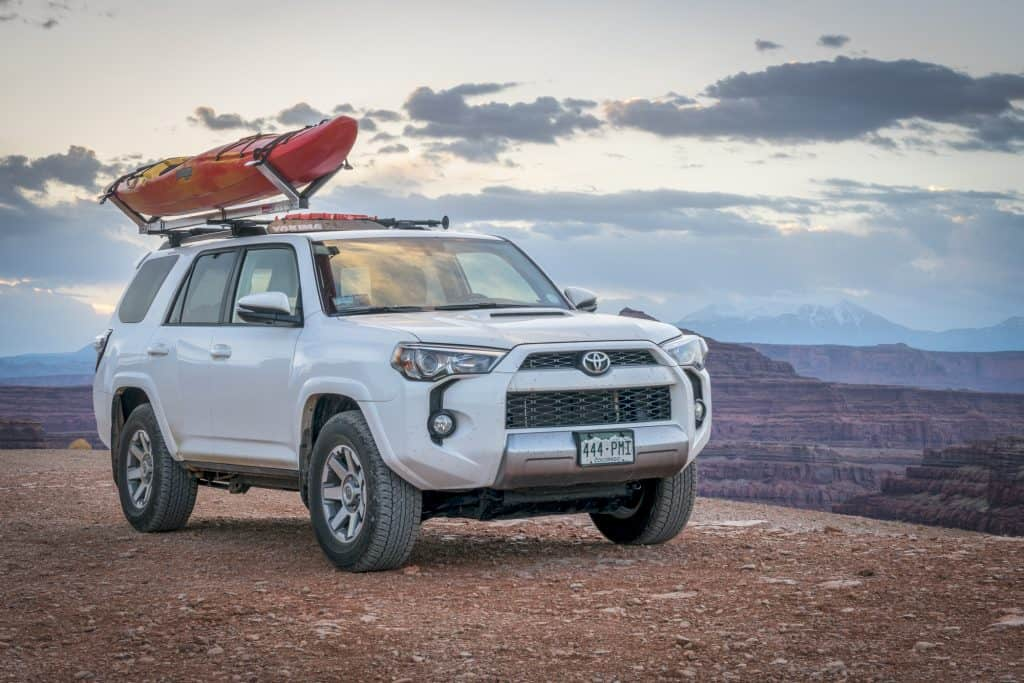 Best kayak roof racks - SUV with a Saddle rack with kayak