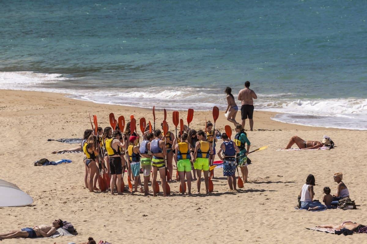 Kayak school on the beach