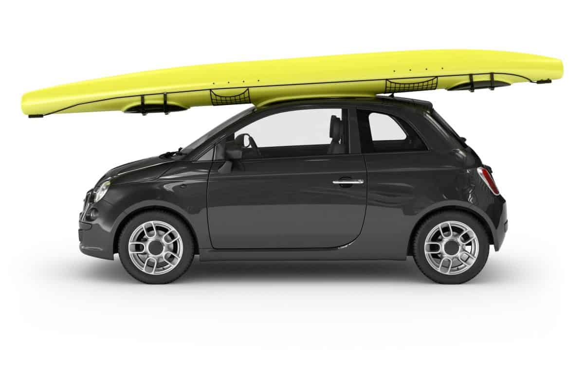 Car with Kayak on DIY roof rck