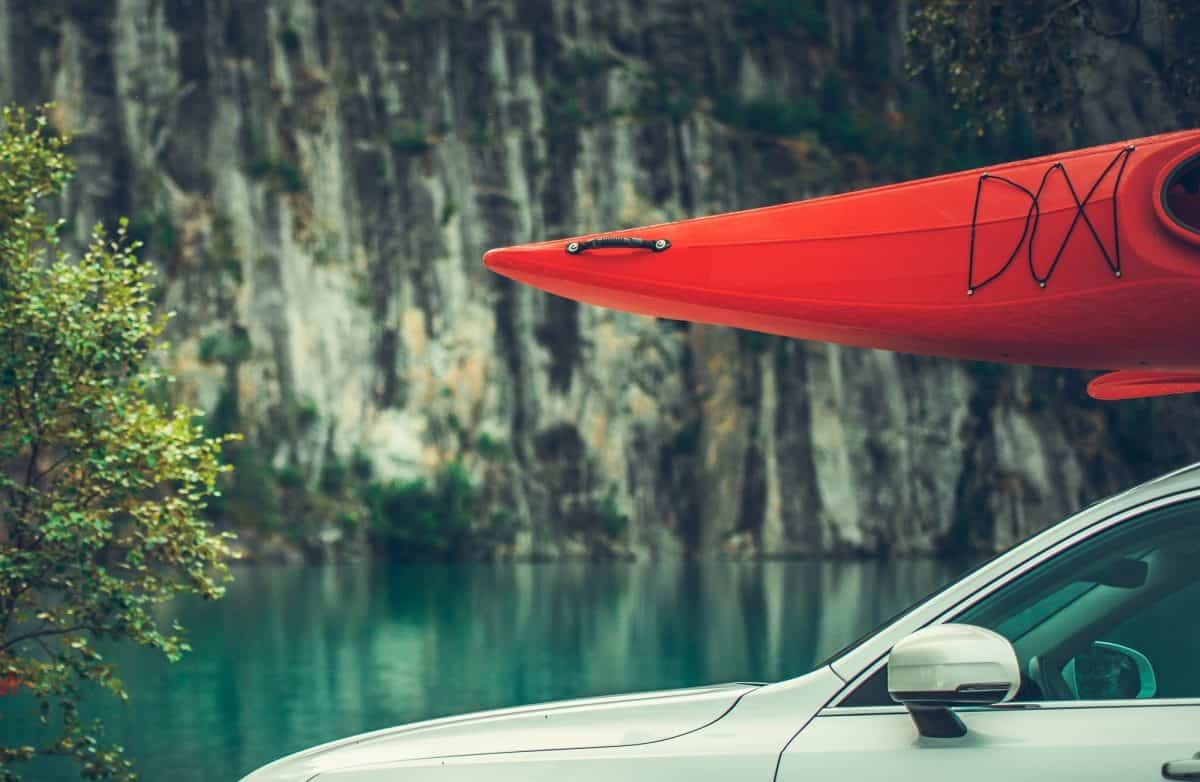 Red Kayak on the Car Roof Rack