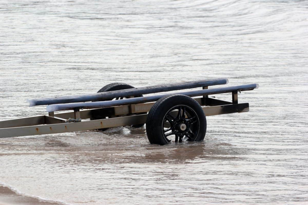 Kayak trailer for small boats and kayaks in the water