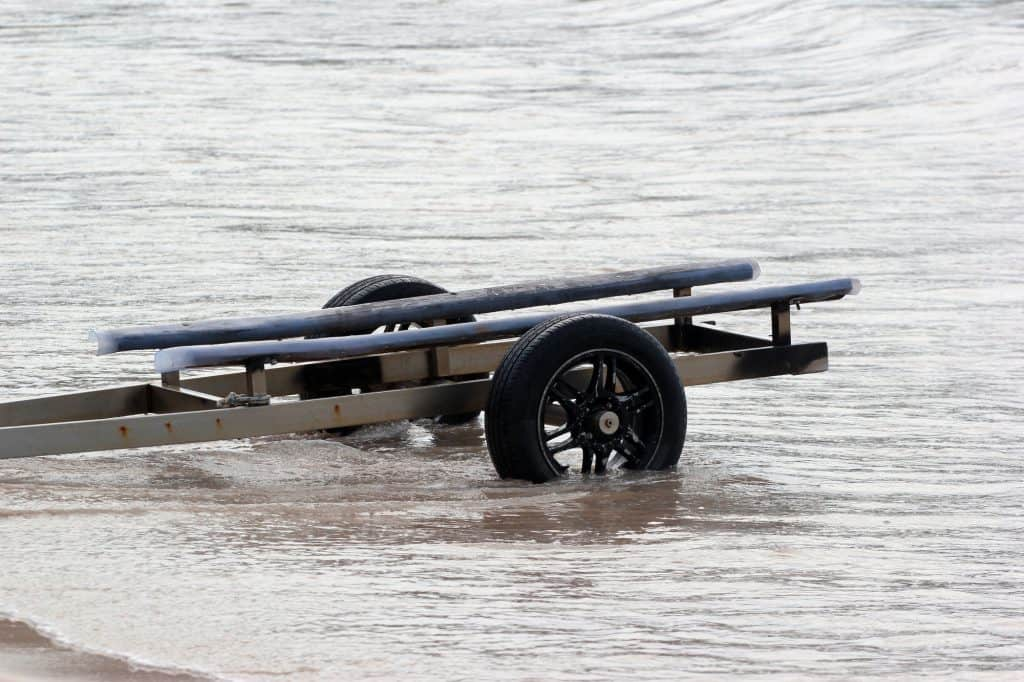 heeled Trailer for small boats and kayaks in the water