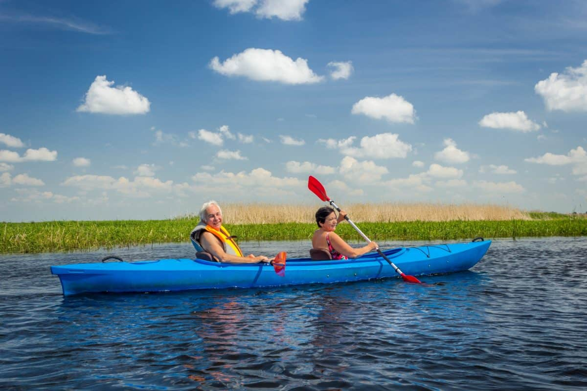Tandem Kayak Couple on River