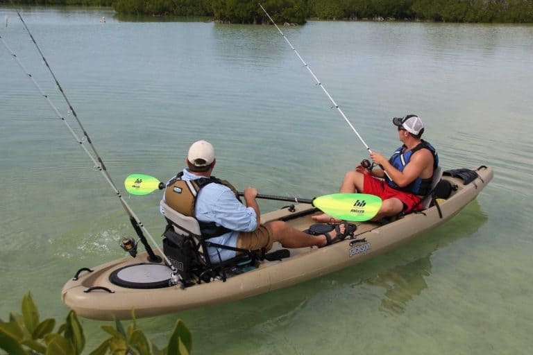 2-men-fishing-in-a-kayak with loads of storage