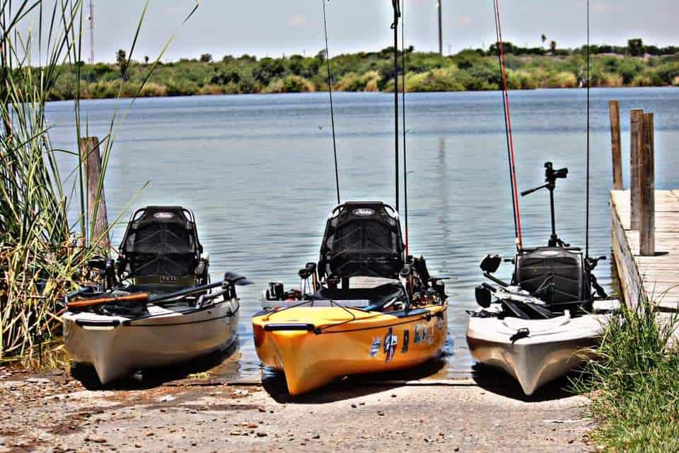 Fishing Kayaks with Lawn Chair seat and gear tracks