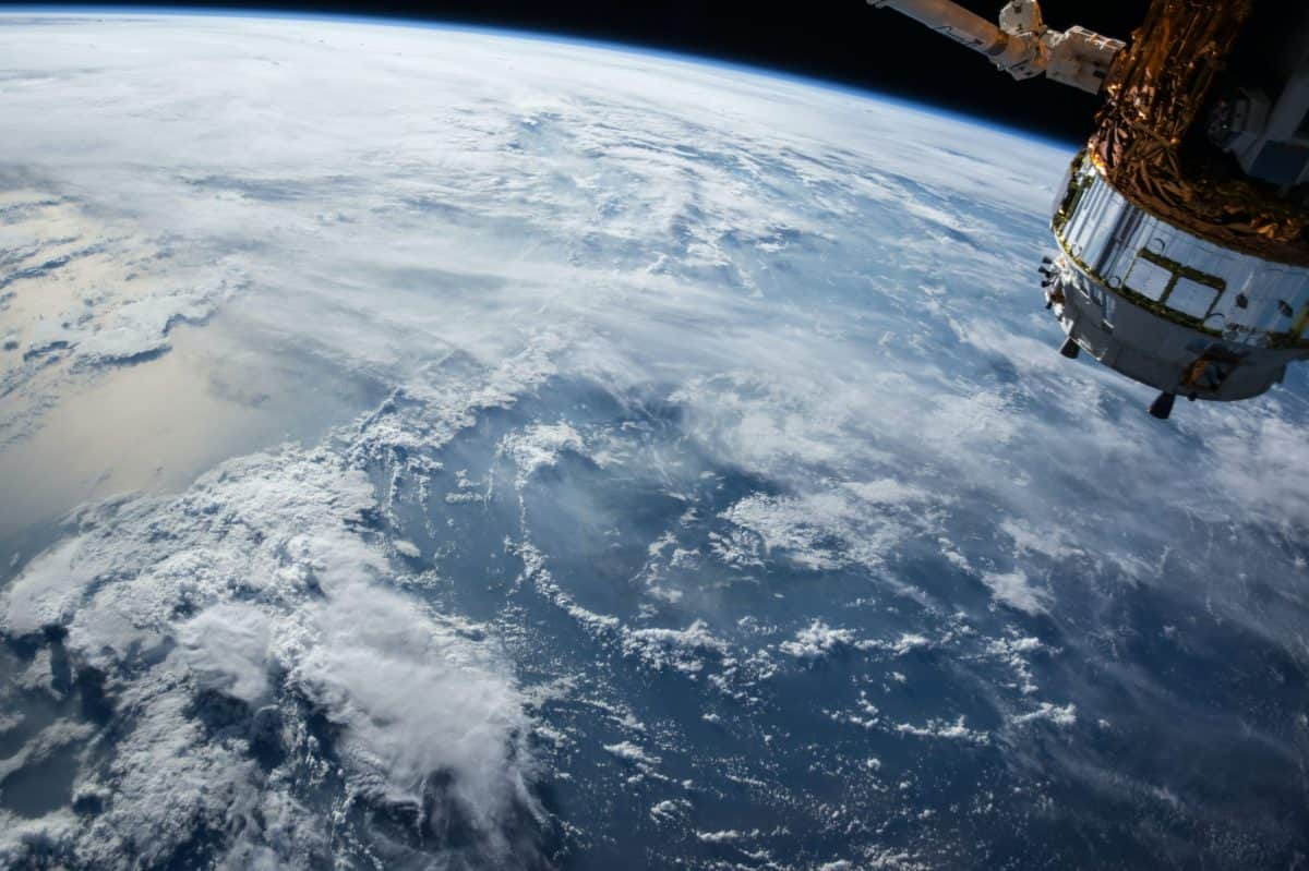 satellite with view over earth