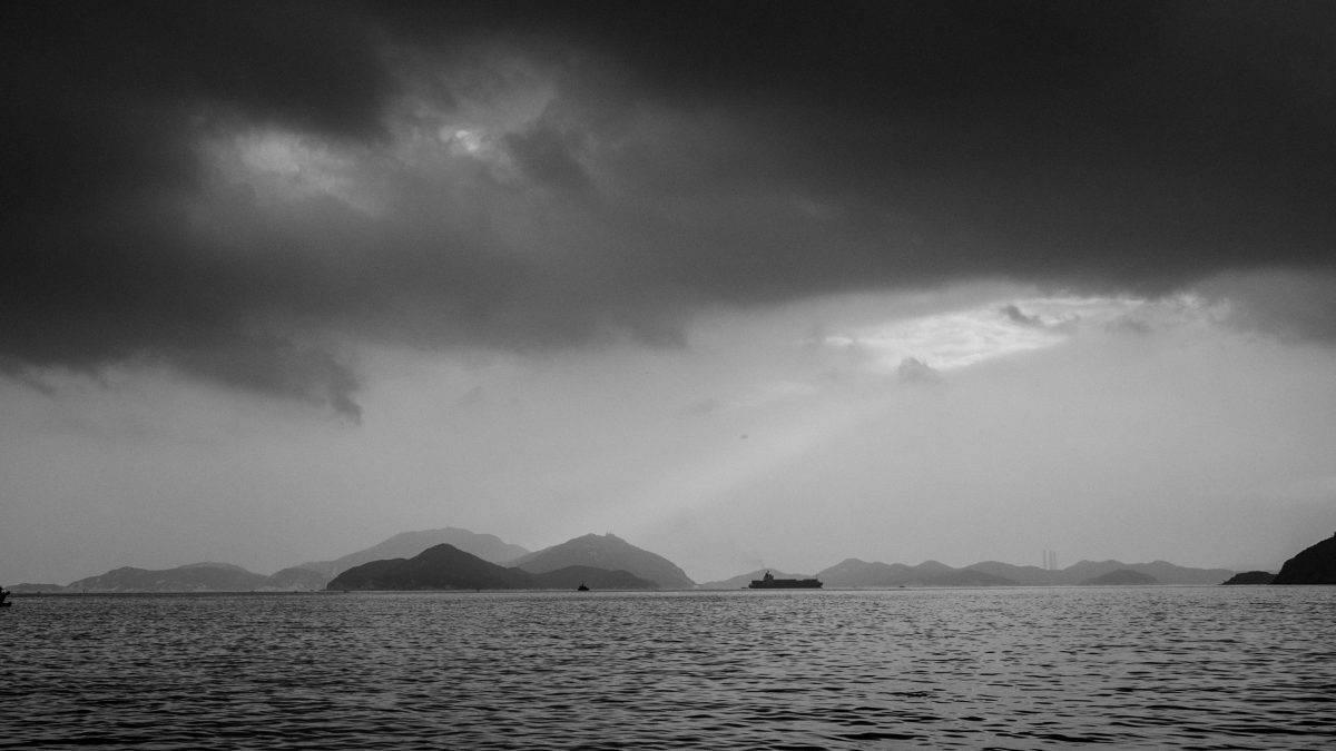 Moody bad weather over a lake
