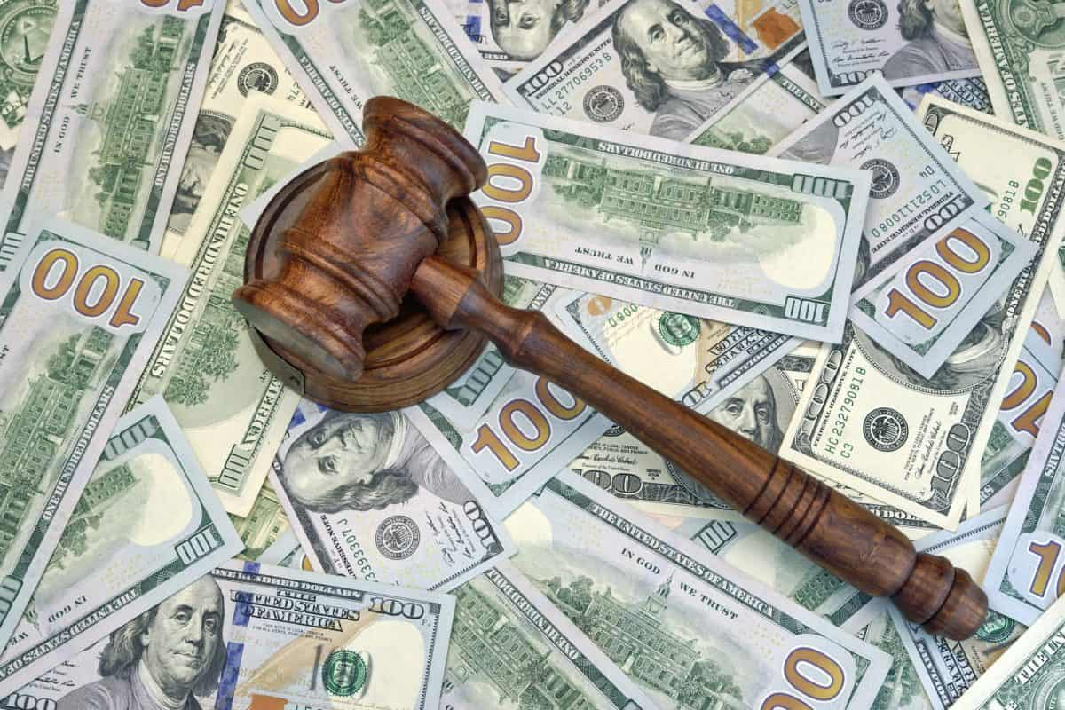 Judges Or Auctioneer Gavel On The Dollar Cash Background, Top View, Close-Up. Concept For Corruption, Bankruptcy, Bail, Crime, Bribing, Fraud, BUI, DUI,  Fines