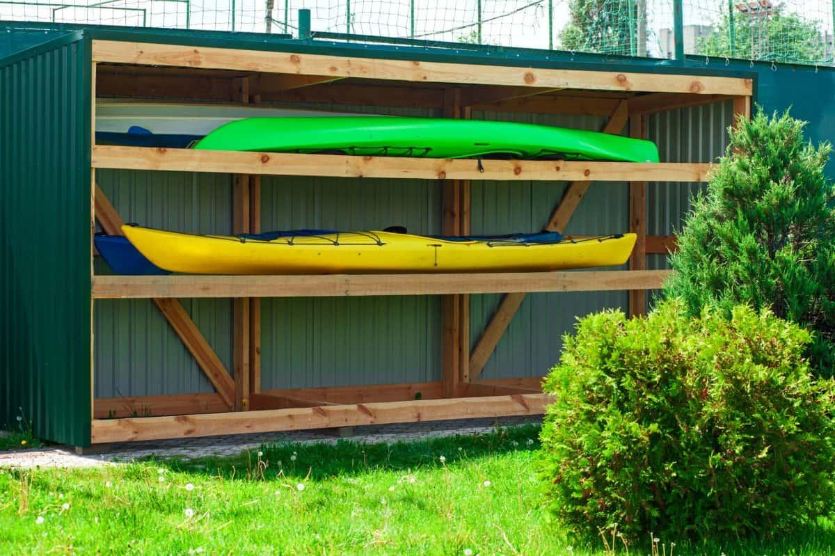 Kayak storage - kayak on outdoor DIY storage rack