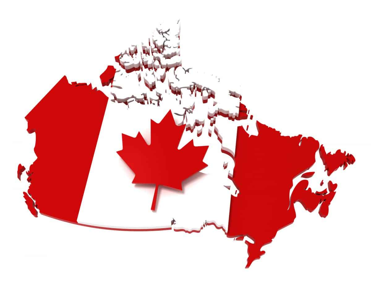 BUI - Canada, map with flag, clipping path, isolated on white, 3d illu