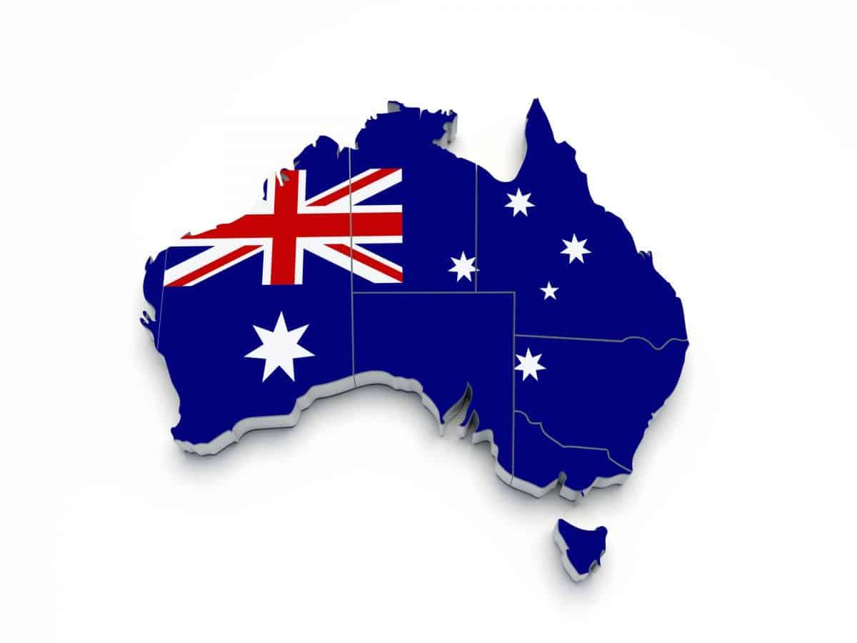 Australia 3D flag map on white isolated