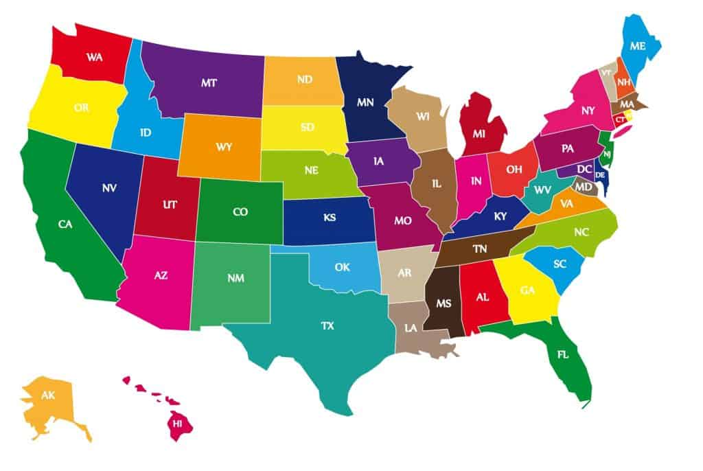 Detail color map of USA with name of states.
