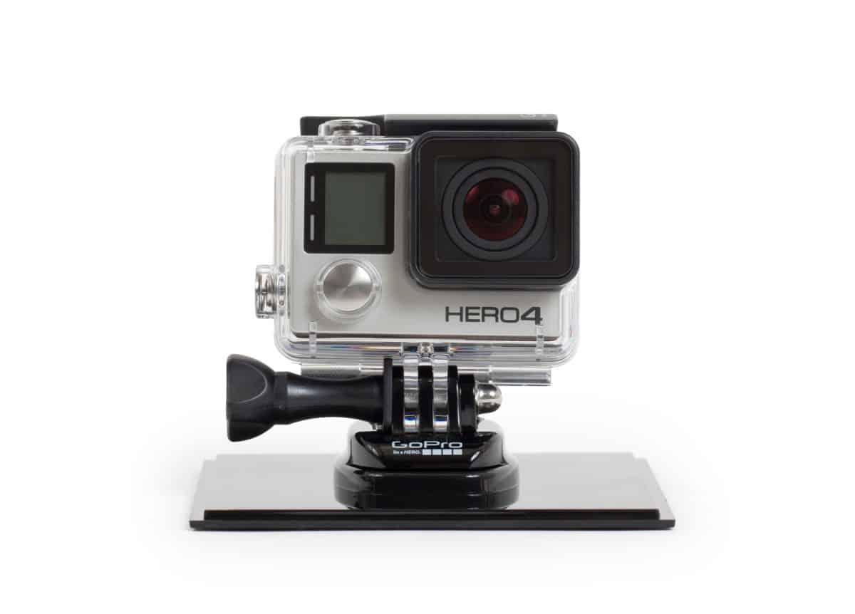 Go-Pro Hero 4 on kayak camera mount - white background