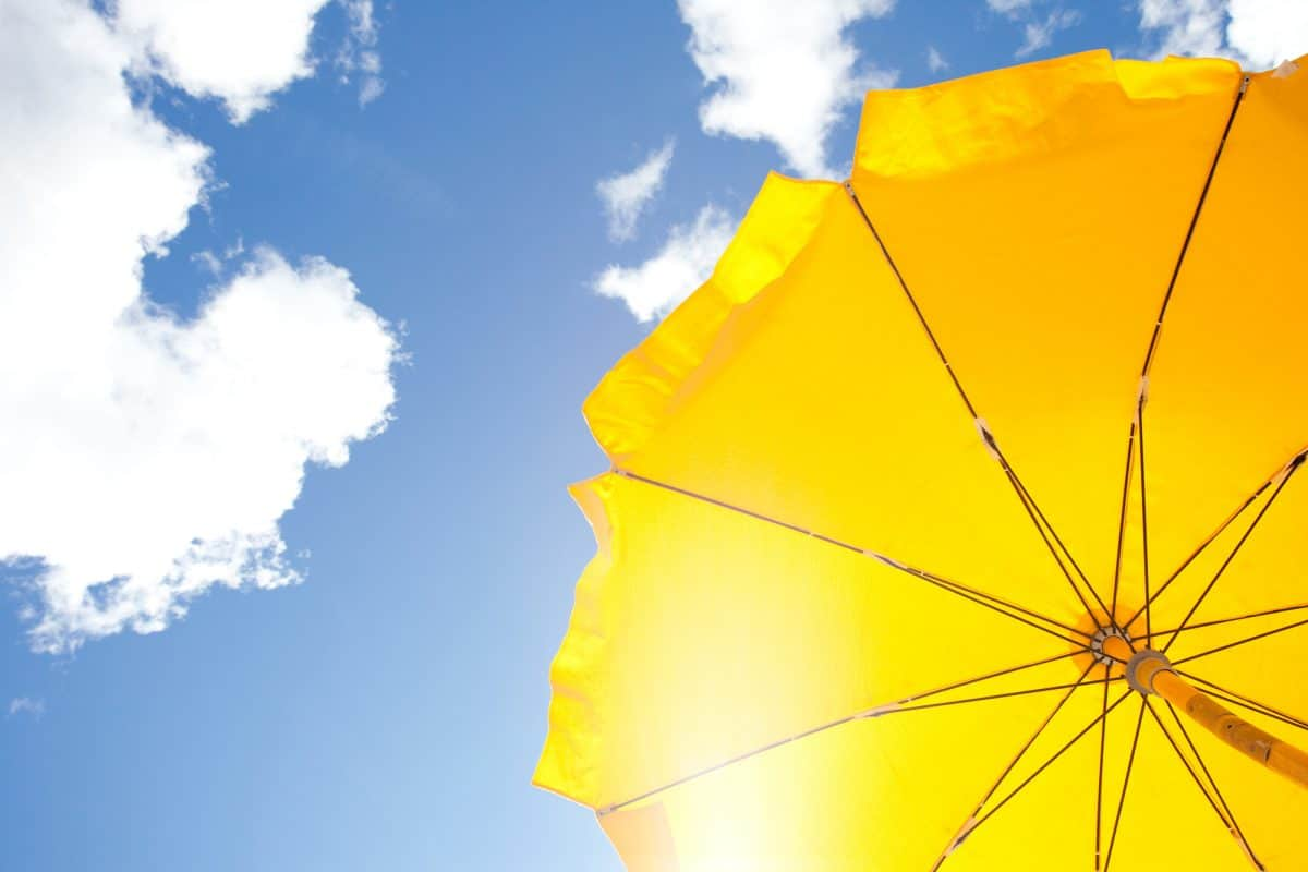Bimini Top - yellow umbrella on blue sky