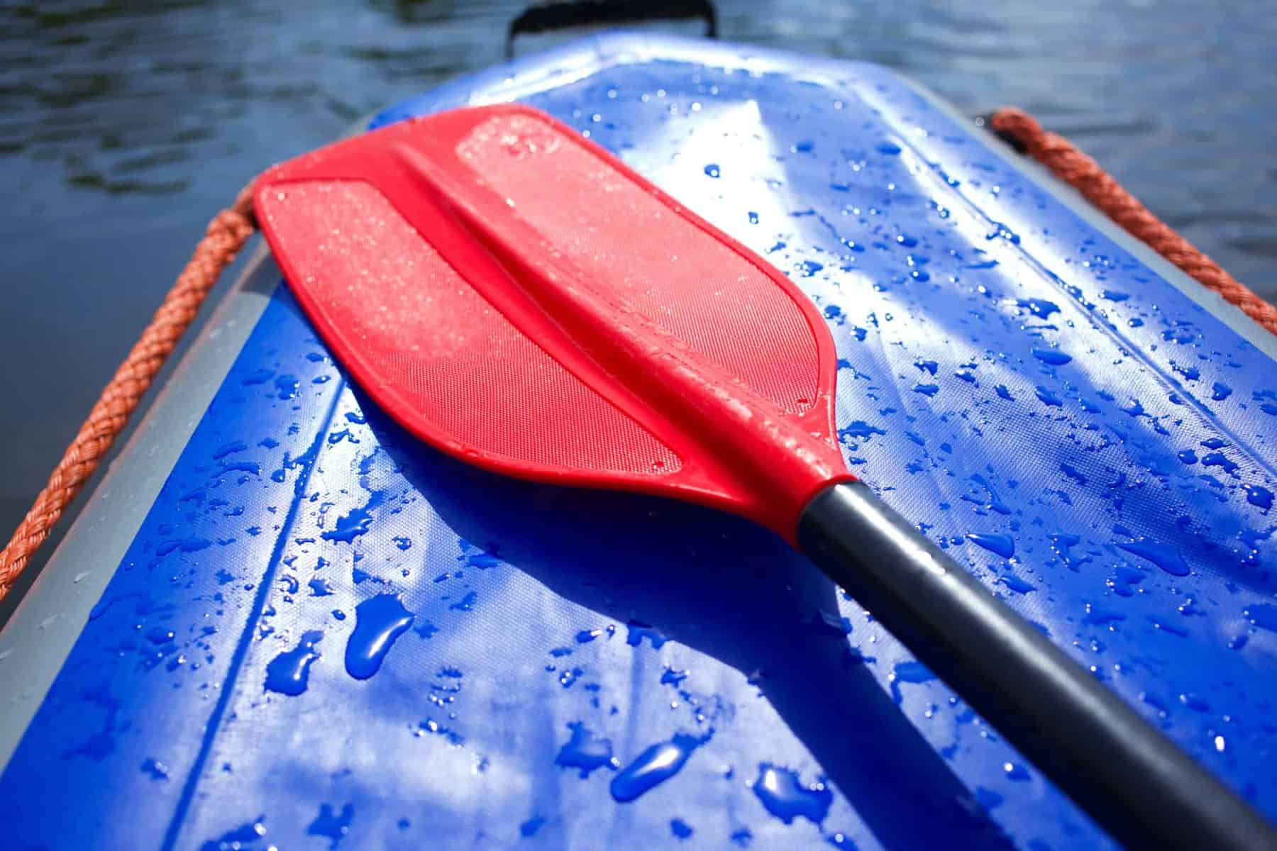 Kayak Padddle Size - red paddle on blue kayak