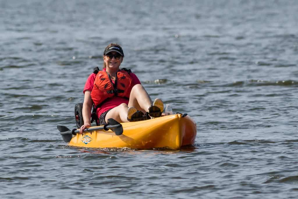 Women in Kayak with pedals