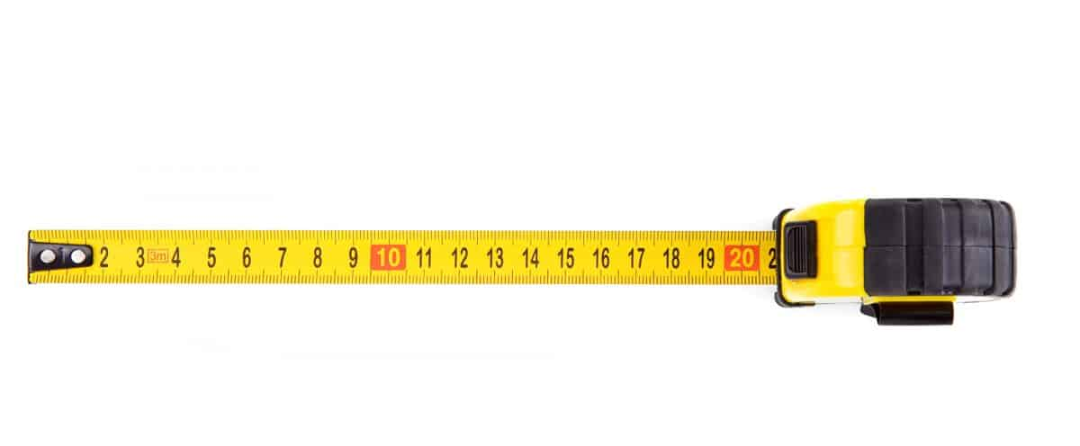 Kayak Length - tape measure extended on on white background