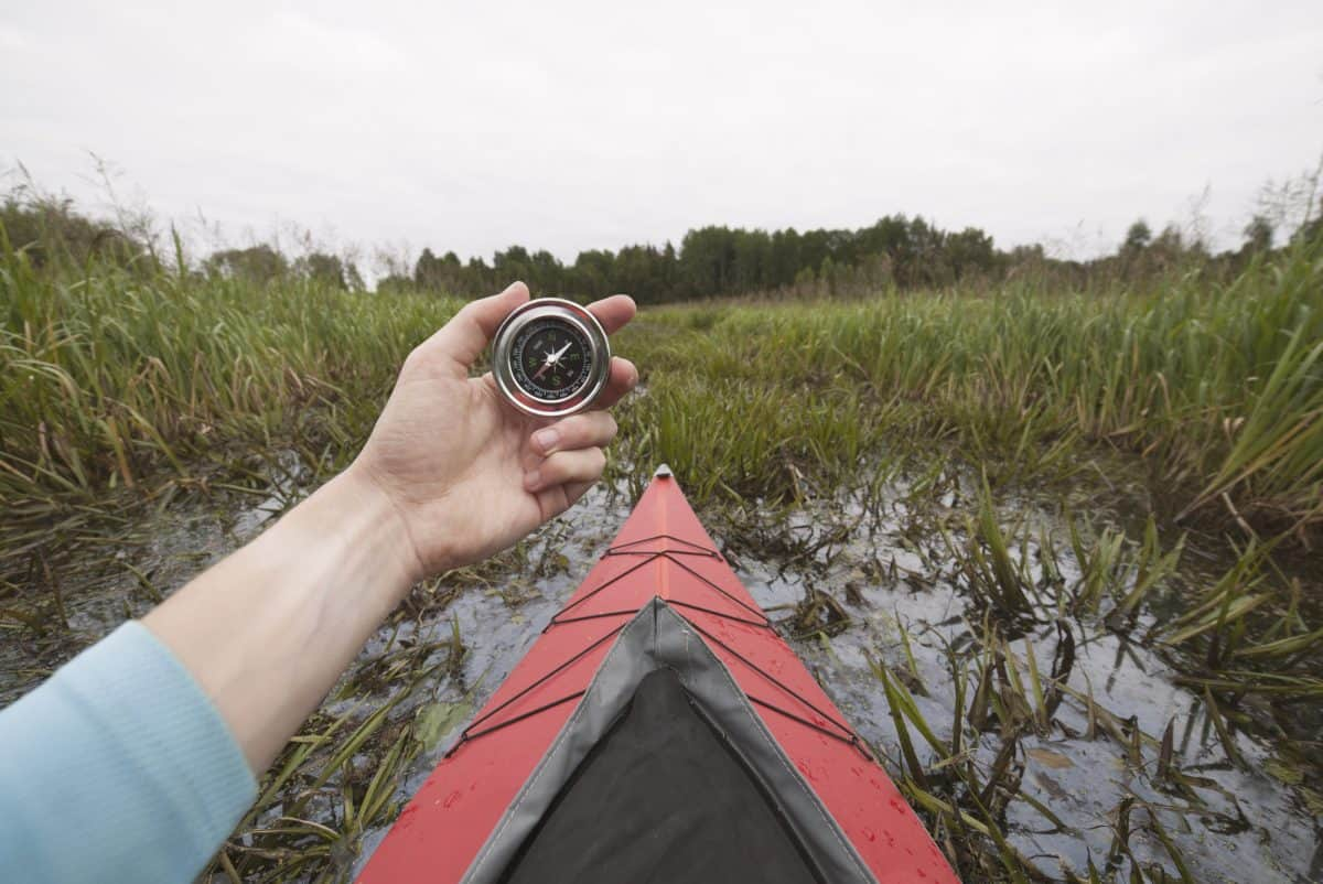 kayak navigation with a compass in mangroves