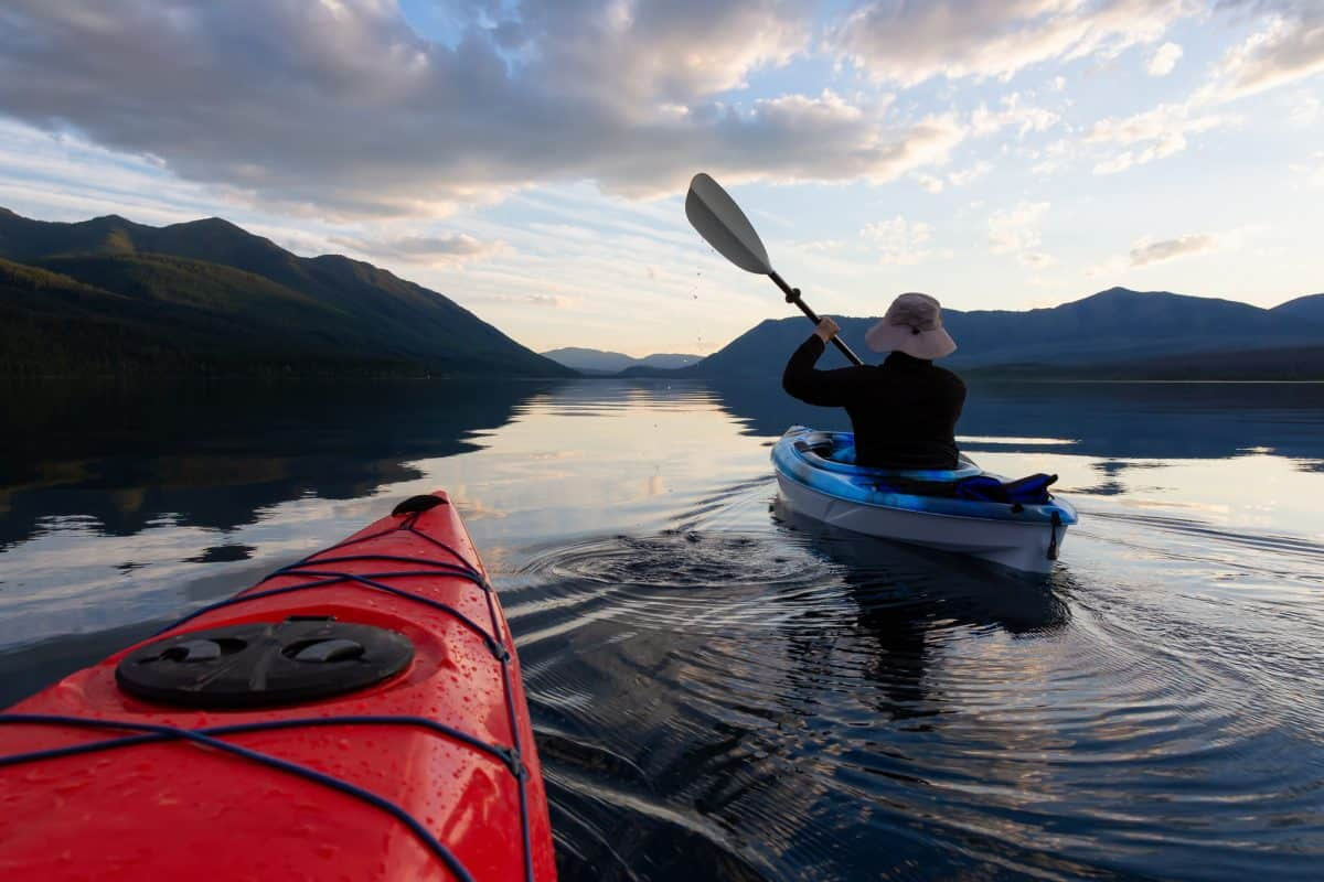 two paddler in sit on top kayaks for lakes
