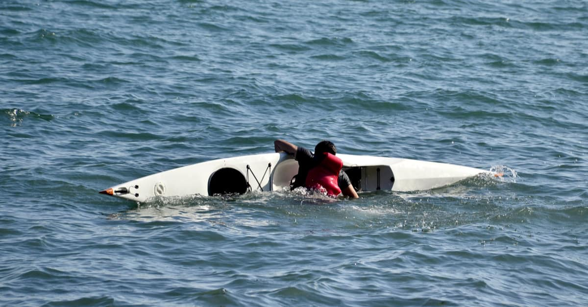 demonstration of how to enter and exit a kayak