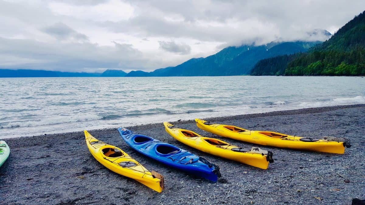 4 yellow kayaks on beach - How to choose a kayak for the ocean