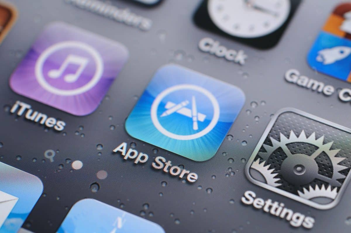 Close up of phone showing the app store icon