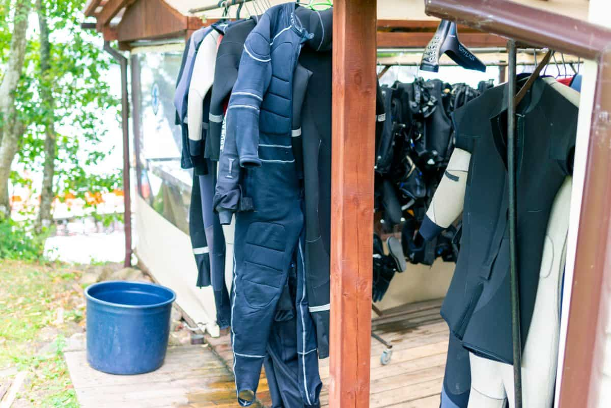 Dry Suits hanging drying