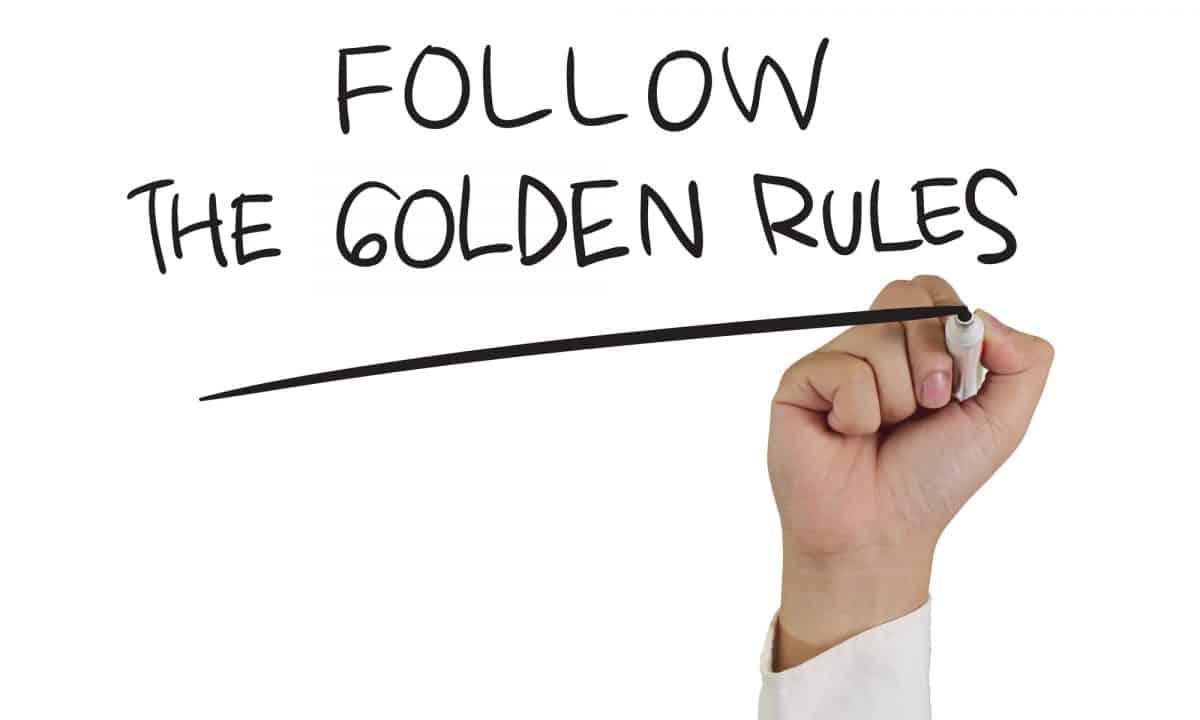 Graphic saying 5 Golden Rules Of Kayak Touring