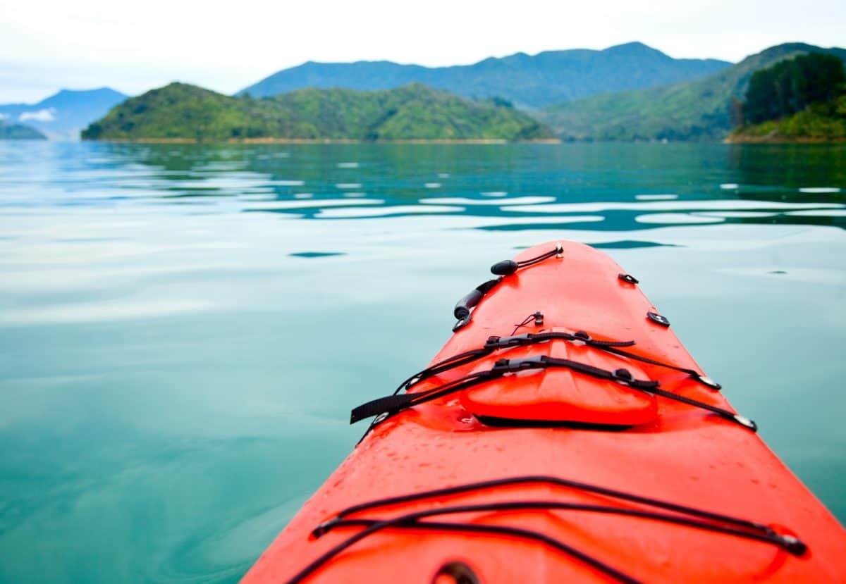 Bow of red touring kayak