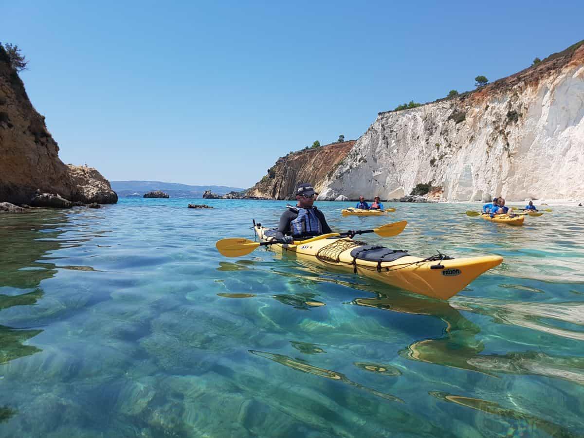 sea kayaks in coastal bay