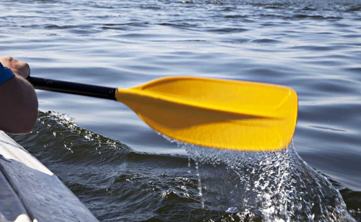 close up of yellow kayak paddle