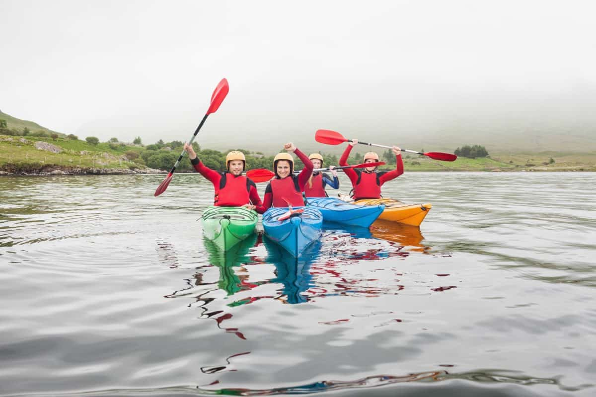 Kayakers in safety lesson