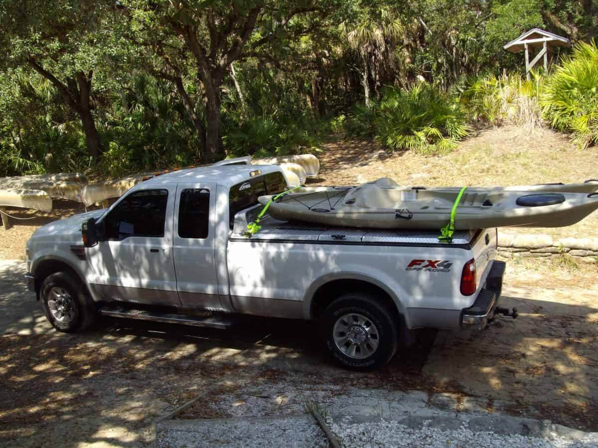 Kayak being transported in truck bed