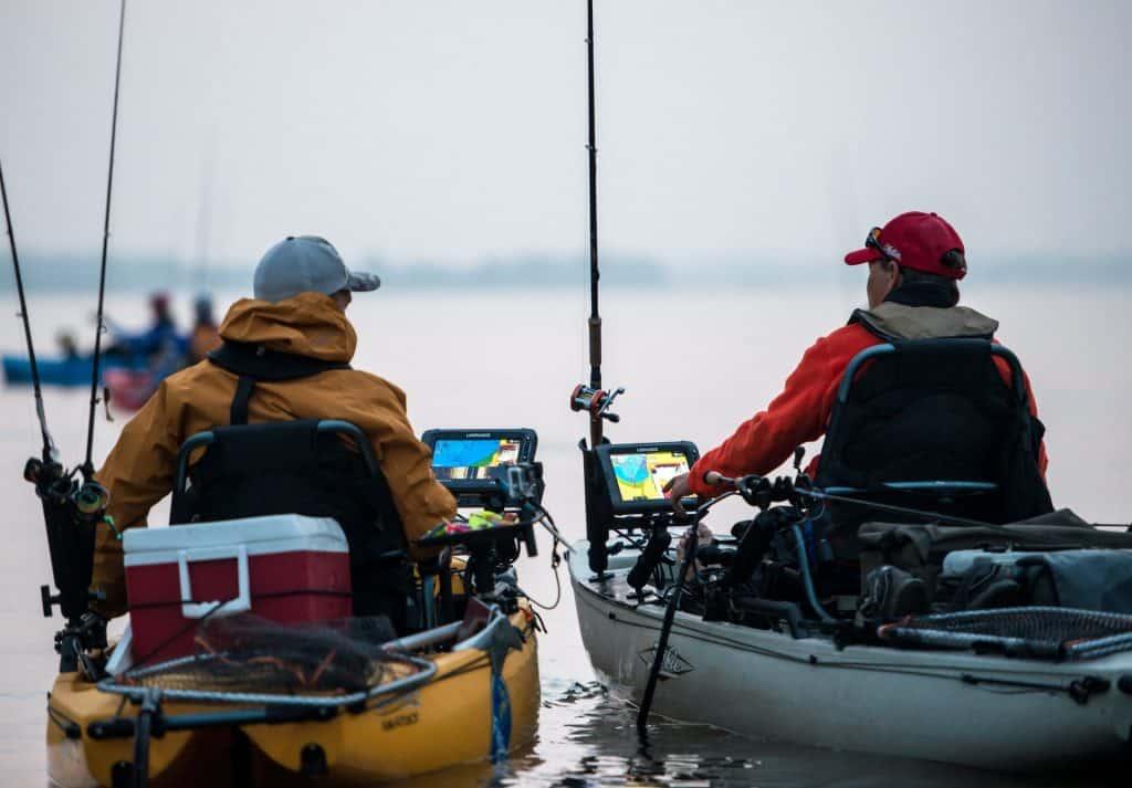 two kayak anglers with trolling motors
