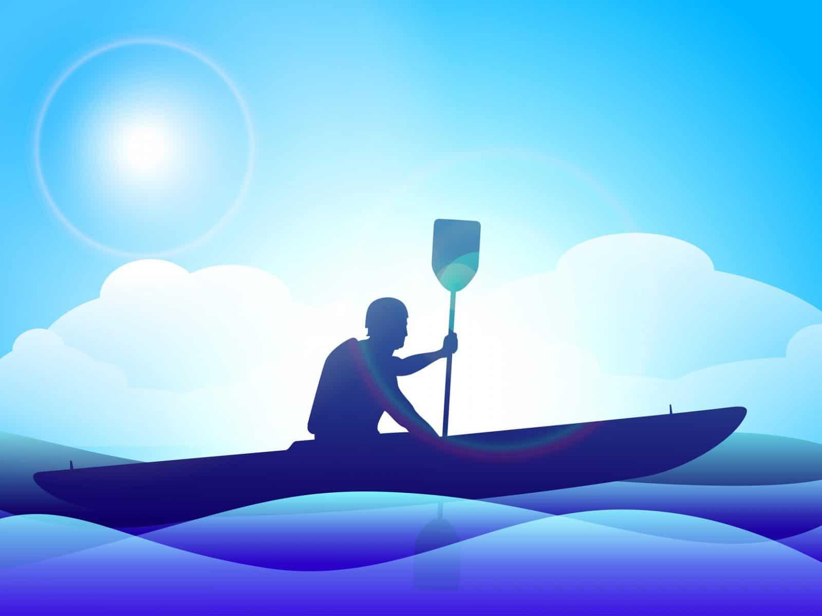 llustration of man doing kayaking in sea