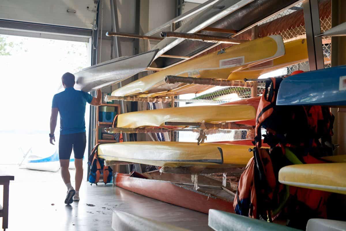 Kayaks on storage rack
