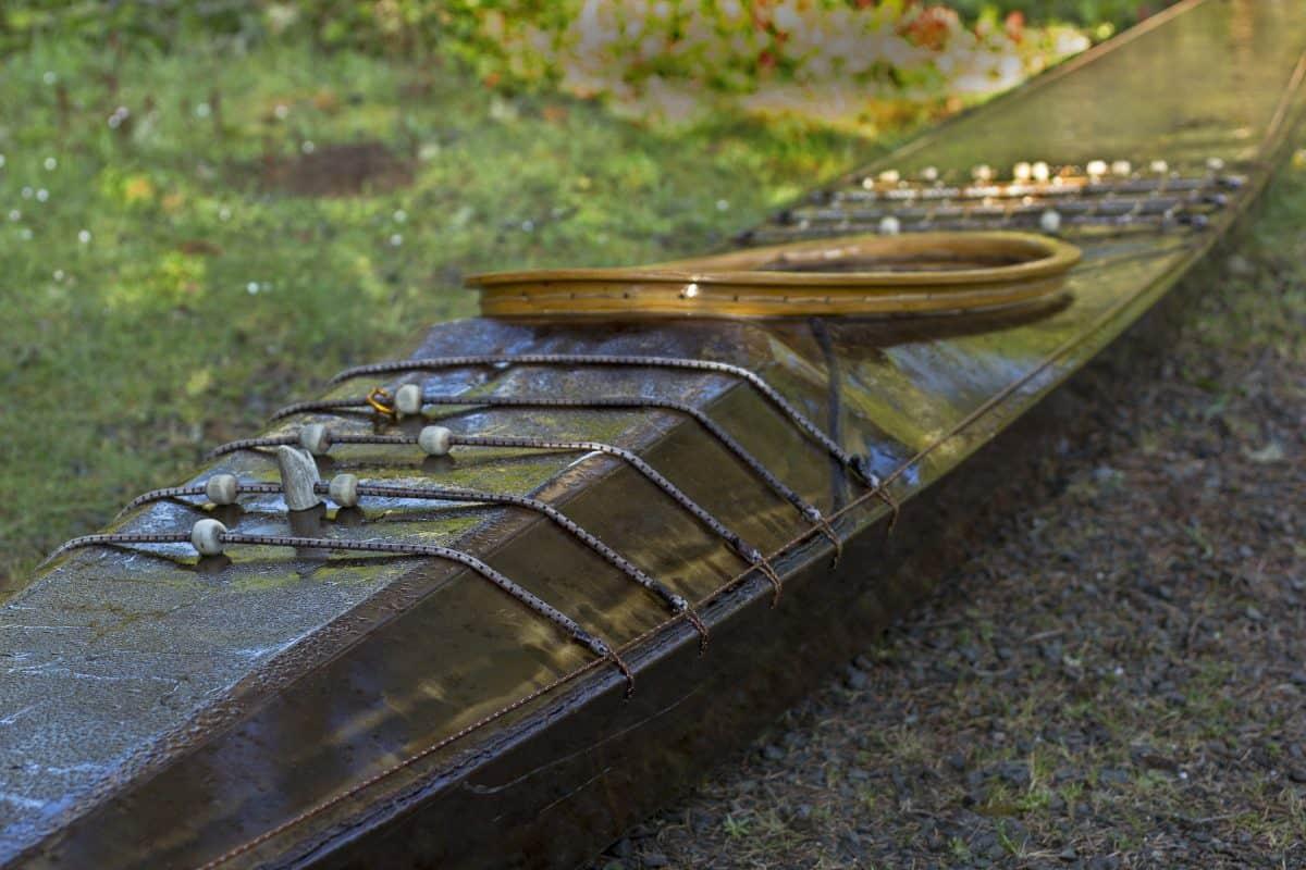 Traditional skin on frame west greenland kayak closeup