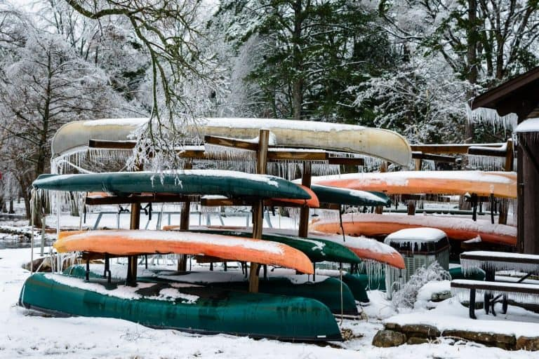 Iced covered kayaks and canoes